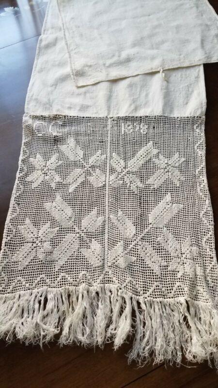 Antique 1858 Lace Show Towel Home Spun Linen Fringe Trim Primitive Textile