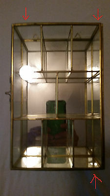 Vintage Miniature Brass Glass Table/Countertop Mirror Display Case Curio Cabinet
