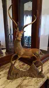LARGE ANTIQUE VINTAGE BRASS DEER STAG STATUE FIGURE Wallsend Newcastle Area Preview