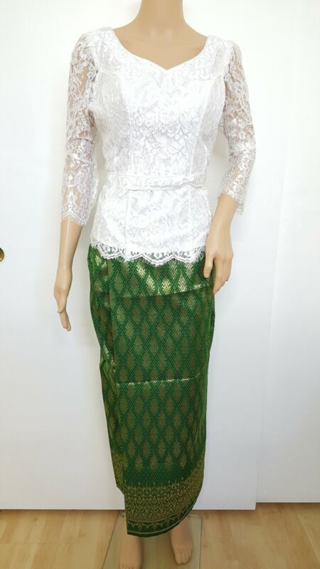 Cambodia Khmer Traditional Out fit Women Size L White/Green Formal Seing Thai