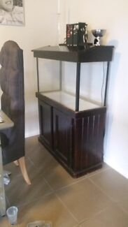Fish tank on timber stand all accessories inc EMPTY NO FISH Macquarie Links Campbelltown Area Preview