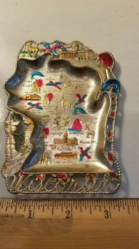 Vintage Decorative Metal Wisconsin State Souvenir Ashtray