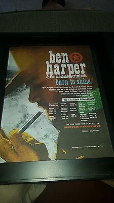 Ben Harper Burn To Shine Rare Original Radio Promo Poster Ad Framed!