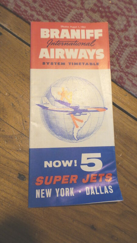 August 1, 1964 BRANIFF INTERNATIONAL AIRWAYS AIRLINES TIMETABLE
