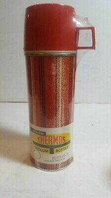 Vintage 1964 King-Seeley Red Stripes  Metal Hot Cold Thermos #2210 Vac Sealed
