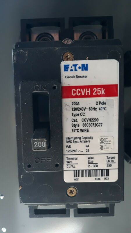 EATON CUTLER HAMMER CCVH2200 2 POLE 200AMP 240V FEED THRU MAIN CIRCUIT BREAKER