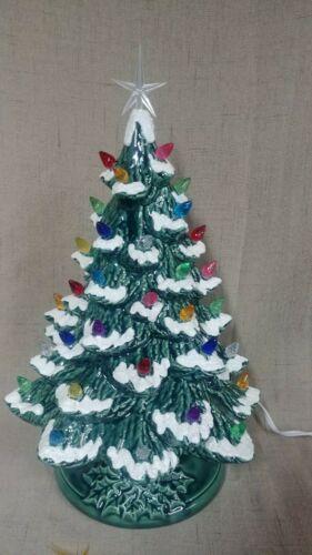 "Ceramic Christmas Tree Lighted 14"" - Green Glaze - Green Holly Base - Snow"