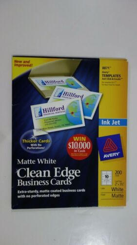 AVERY 8871 Matte White Clean Edge Business Cards 9/20 Sheet 10 Cards per Sheet