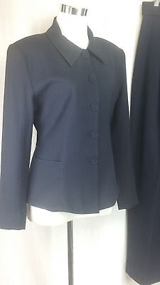 bebe Vintage Size 4 Dark Navy Wool Jacket/Pant Suit Button Up Shirt Collar LS