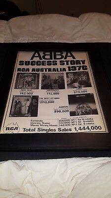 Used, ABBA Rare Original Australia RCA 1976 Original Promo Poster Ad Framed! for sale  Rockledge
