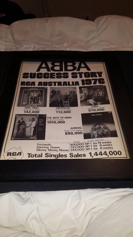 ABBA Rare Original Australia RCA 1976 Original Promo Poster Ad Framed!