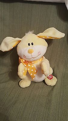 Animatronic plush rabbit singing clapping hands moving ears Easter bunny Happy