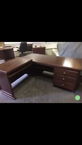 Custom office furniture - 2 decks, bookcase, and round table