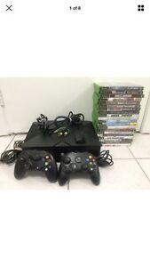 Original Microsoft XBOX console and 18 Games