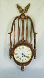 VTG MCM Syroco Wall Clock-8 Day Jeweled Clock American Eagle Top