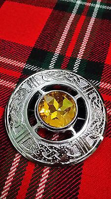d Schottenkaro Keltisch Broschen Gelb Stein Silber (Gelb Plaid Rock)