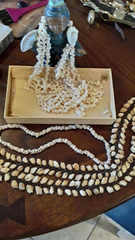 Beautiful Vintage Shell Necklaces  Hawaii Lei  Needs  Repair