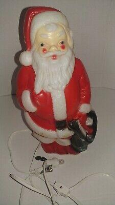 "Vintage 1968 Empire Plastic Blow Mold Christmas Santa Light Up Decoration 13"""