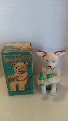 1950's Yonezawa Japan Battery Operated Milk Drinking Dog In Original Box Works