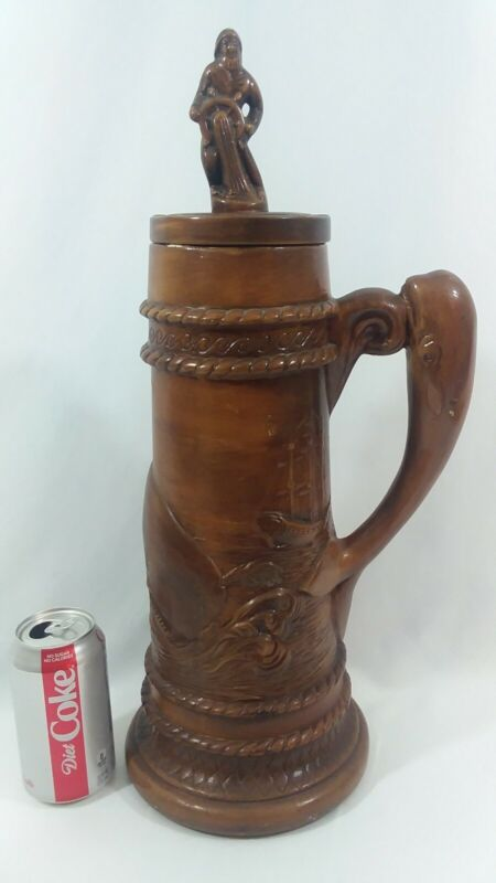 Vintage Moby Dick Large Beer Stein, Whale Handle, 1970s