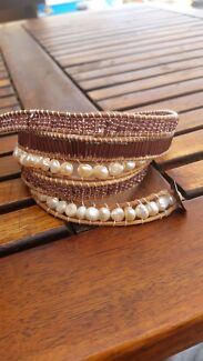 Freshwater pearls and Asian bead leather wrap bracelet  Pakenham Cardinia Area Preview