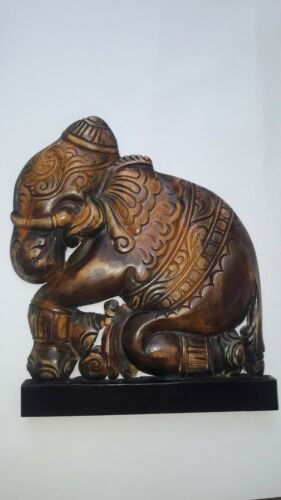 Beautiful Wood Elephant Carvings Amber Figurine Home Art Decor Sri Lankan Artist