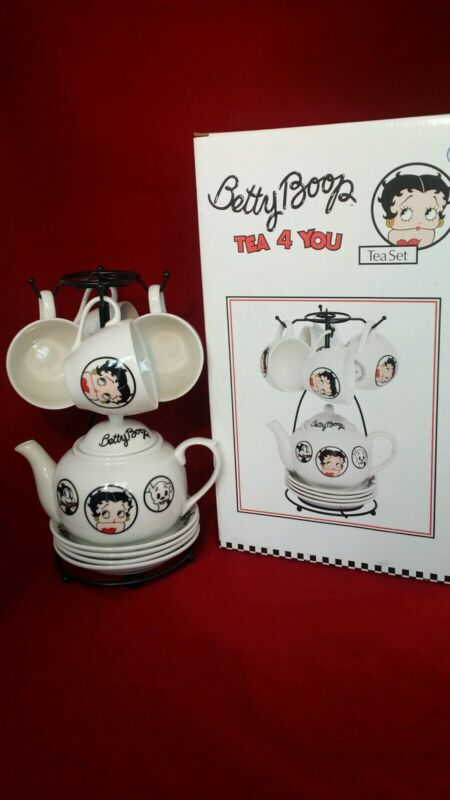 New w/Box 2002 BETTY BOOP China Tea 4 You Set (11 Pc ) w/Display Rack