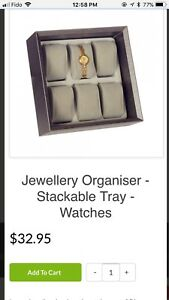 Jewelry organizer box, stackable for rings, watches, earrings