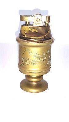 Vintage Brass Table Top Cigarette Lighter Japan Engraved Countryside