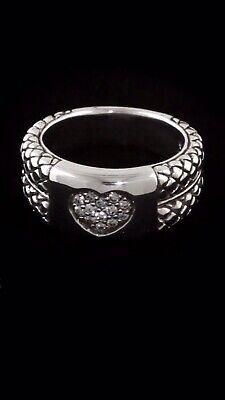 ❤️ SCOTT KAY Silver & DIAMOND HEART CLUSTER Woman's 925 Basketweave Ring $650 (Silver Diamond Basketweave)