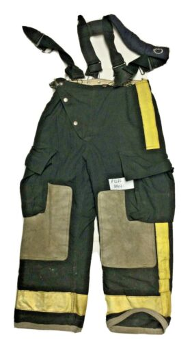 34x28 Globe Black Firefighter Turnout Pants with Suspenders & Yellow Tape P1286