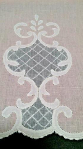 Fab Madeira Linen Guest Hand Towel White Swiss Organdy Shadow Work on Pink FRESH