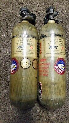 2- Scott Scba Bottle Air-pak 4500 Psi 45 Min 2003 Free Ship Cga 347 Pcp Air Gun