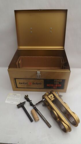 Vtg Kwikset Door Lock Installation Kit 1964 NOS Steel Box