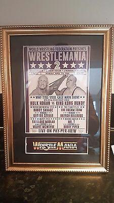 Wrestlemania 2 1986 Framed  Mounted Event Poster Hulk Hogan Randy Savage WWF