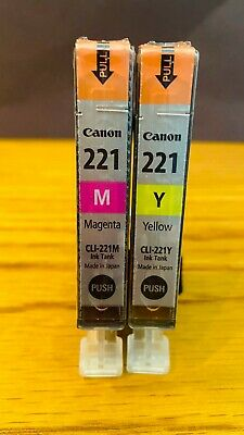 GENUINE CANON INK~CLI-221M~MAGENTA~CLI-221Y~YELLOW~SEALED PLASTIC WRAPPER~2 PACK Genuine Yellow Ink Tank