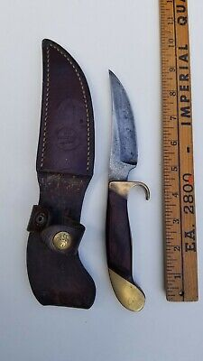 OLSEN O.K. HUNTING KNIFE AND LEATHER SHEATH BRASS BUTT