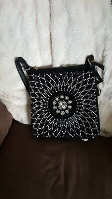 HX Extra Bling Rhinestone Messenger Bag Crossbody Purse Black