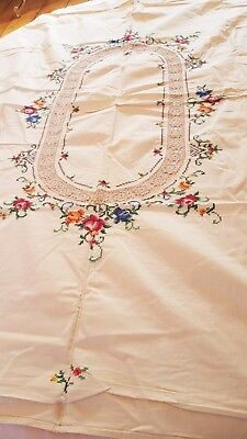 "NOS VINTAGE ITALIAN HAND EMBROIDERED COTTON LINEN TABLECLOTH 64"" length"