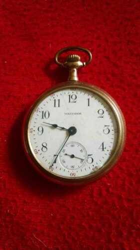 Vtg. Waltham 15 Jewels Engraved Locomotive Back Case Pocket Watch-Working