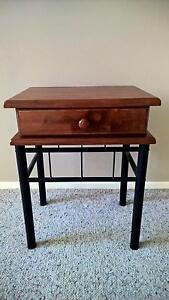 Timber Bedside Table with Wrought Iron Legs Helensvale Gold Coast North Preview