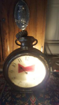 Vtg Budweiser Advertising Lighted Pocket Watch Clock Hanging Sign Works