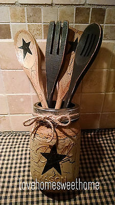 Primitive Crackle Tan & Black Star Mason Jar & Wood Utensil Set Country Decor