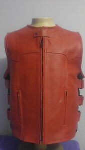 RED LEATHER MOTORCYCLE TACTICAL STYLE VEST MENS
