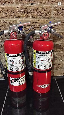 Set Of 2 Nice Refurbished 5lb Abc Fire Extinguisher New Bracket Cert. Tag