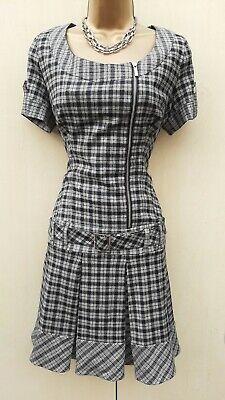 Karen Millen 10 UK Smart Tweed Check Low Waist Pleated Dress Occasion Office