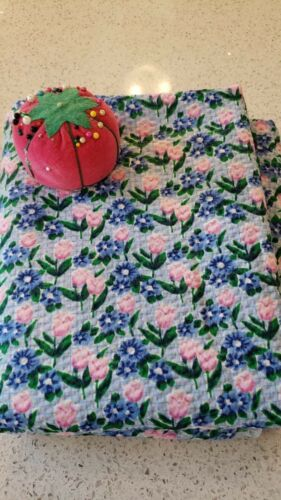 Vintage VTG 1990s Cotton Blue Floral Mod Fabric  - 2 yards  x 44 WOF