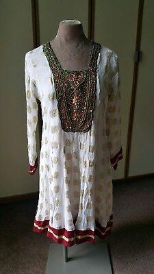 Vintage Indian embroidered gauze hippy dress. Mini beaded. Ethnic. Folk 12-14
