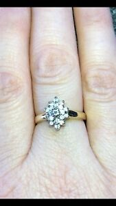 10k SOLID GOLD DIAMOND CLUSTER!  SIZE 7