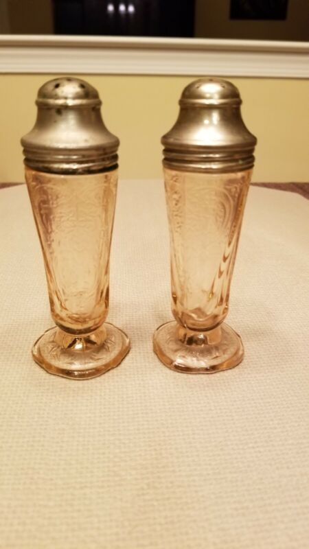 Pink Royal Lace Depression Glass Salt & Pepper Shakers - FREE SHIPPING